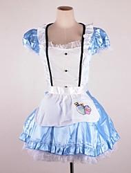 encantadores mangas curtas alice&princesa colarinho de cetim&uniformes rendas empregada doméstica