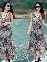 MiShow®Women's V-neck Sexy Leopard Grain Pattern Design Sleeveless Casual Slim Beach Maxi Dresses