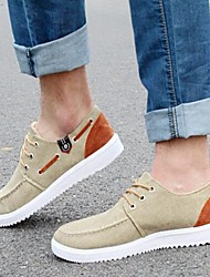 Men's Spring / Summer / Fall Comfort Leatherette Casual Flat Heel Lace-up Khaki Sneaker