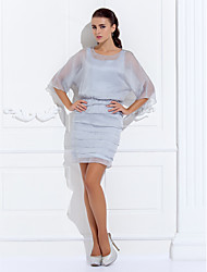 Lanting Bride® Sheath / Column Plus Size / Petite Mother of the Bride Dress - Wrap Included Short / Mini 3/4 Length Sleeve Chiffon with