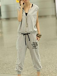 Women's Black/Gray Jumpsuits , Casual Sleeveless