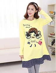 Maternity Long Sleeve Polka Dot and Cartoon Printed Cotton Dress