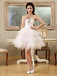 A-Line Princess Sweetheart Short / Mini Tulle Cocktail Party Homecoming Dress with Beading Lace Pleats by JUEXIU Bridal