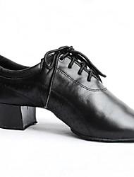 Латинской мужские каблуки коренастый пятки кожаные с шнуровке танцевальной обуви