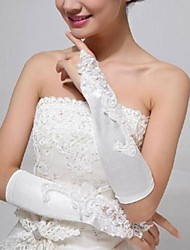 Elastic Satin Fingerless Elbow Length Wedding Gloves with Applique with Beading ASG26