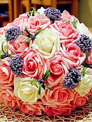 """Bouquets de Noiva Redondo Rosas Buquês Casamento Poliéster 11.8""""(Aprox.30cm)"""