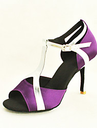 Customizable Women's Dance Shoes Latin/Ballroom Satin/Leatherette Customized Heel Black/Purple