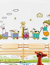 decalques de parede adesivos de parede, animais dos desenhos animados treinar parede pvc adesivos