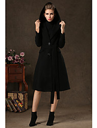 TS Elegance Lapel Hooded With Fake Hair Coat