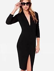 SSMN Women's V Neck Sexy Vent Classical Long Sleeve Dresses