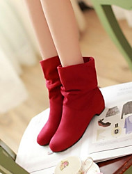 Women's Spring Fall Winter Fashion Boots Leatherette Dress Low Heel Black Blue Red