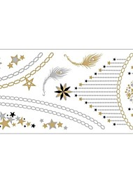 1Pc Gold And Silver Metallic Star Necklace Bracelet Tattoo Sticker