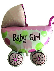 Pink Baby Carriage Metallic Balloon