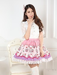 Pink Pretty Lolita Macarons and Cupcakes Princess Kawaii Skirt Lovely Cosplay