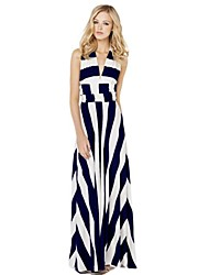 Women's Striped Multi-color Dress , Sexy/Maxi Deep V Sleeveless
