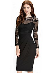 Women Floral Mesh Long Sleeves Bodycon Party Work Dress 9330