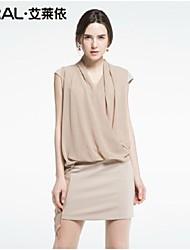 abito estivo di eral®women elegante sottile o-collo del bicchierino-manicotto a due pezzi vestito chiffon tinta unita
