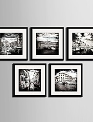 Landscape / Architecture Framed Canvas / Framed Set Wall Art,PVC Black Mat Included With Frame Wall Art