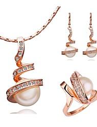 Or blanc 18 carats plaqué or collier boucles oreille anneaux définir