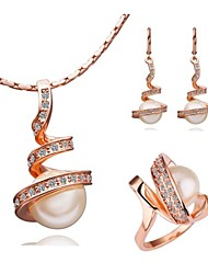 18K White Gold Plating Necklace Earrings Rings Set
