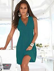 v cuello algodón mercerizado falda de la playa de la mujer, ropa de playa