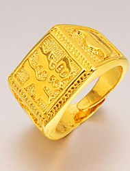 Chinese Characters Blessing Men 24 K Gold Ring
