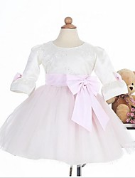 Ball Gown Knee-length Flower Girl Dress - Satin Half Sleeve