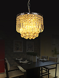 Luxuriant Crystal Pendant Light in Cylinder Shade