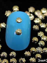 100PCS 3MM*3MM Gold Metal Shell 3D Nail Art Decoration