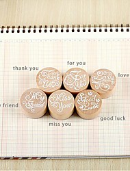 Vintage Blessing Round Wooden Rubber Stamp for DIYFingerprint Scrapbook Painting Wedding Baby Shower Return Gift Present