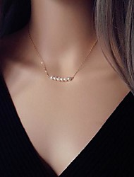 Fashion Across Pearl Golden Alloy Pendant Necklace(1Pc)