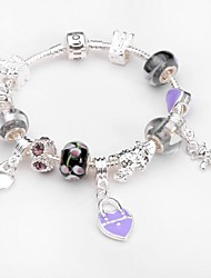 Exquisite Fashion Color Glass Beads Bracelet Silver Jewelry