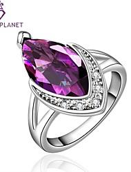 womans vintages de la mode noble charme romantique du zircon pourpre cadeau bague en cristal