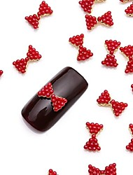 10PCS 3D Glittery Rose Pearl Nail Art Alloy Bow Tie Jewelry for Nail Design Daily DIY Manicure