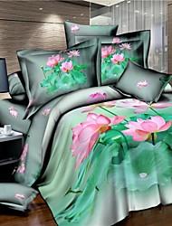 Bettbezug-Set, Heimtextilien delux Wohnkultur aus 100% Baumwolle gedruckte 3D-Betten mit Lotus-Muster eingestellt