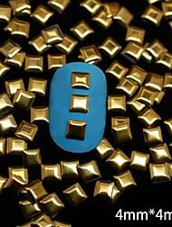 100pcs quadrado de metal rebite nail art decoração dourada 4 milímetros
