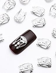50pcs prata nail art fatia liga de jóias metálico nomes jóias pino para design de unhas simples