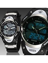 Männer schwarz Runde Zifferblatt Silikonband Japan-Bewegung Mode Tauchen Sportuhr Armbanduhr (farbig sortiert)