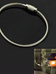 anel keychain corda de aço inoxidável multi-funcional ao ar livre - prata