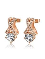 mode roxi délicate boucle d'oreille véritable cristal autrichien champagne alliage de zircon haras de femmes (1 paire)