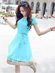 Women's Cute Summer Belt Included Chiffon Short Sleeve Dresses