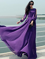 Women's Party/Cocktail Vintage Dress,Solid Maxi Long Sleeve Purple Polyester Spring / Fall / Winter