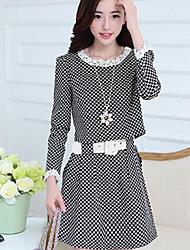 temperamento vestido de bolinhas preto e branco de mulheres