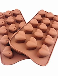 15 Hole Heart Shape Cake Ice Jelly Chocolate Molds,Silicone 21×10.5×2.5 CM(8.3×4.1×1.0INCH)