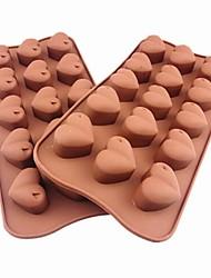 15 hoyos moldes de chocolate torta de la forma del corazón de la jalea de hielo, silicona 21 × 10.5 × 2.5 cm (8.3 × 4.1 × 1.0inch)