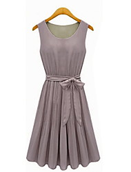 mengdie Rundhals Chiffon abendländischen Stil Kleid der Frauen