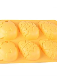 6 Hole Easter Eggs Shape Cake Ice Jelly Chocolate Molds,Silicone 26.5×17.1×3.1 CM(10.4×6.7×1.2INCH)
