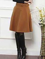 tweed saia cor sólida das mulheres com cinto (mais cores)