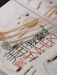 Fashion BEFR Shape Multicolor Alloy Pendant Necklace(1Pc)(Golden,Silver)