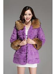 Fur Coats Women's Rabbit Raccoon Fur Hat  Long Fur Coat(More Color)